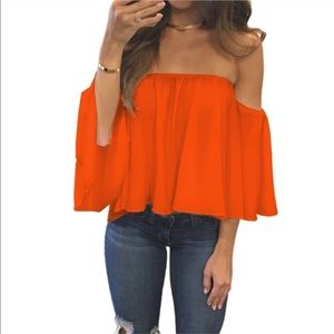 Tops - Orange off the shoulder blouse